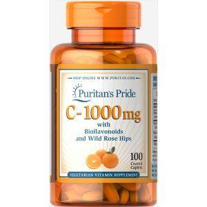 Витамин С и биофлавоноидами, Vitamin C-1000 Rose Hips Time, Puritan's Pride, 1000 мг, 100 капсул