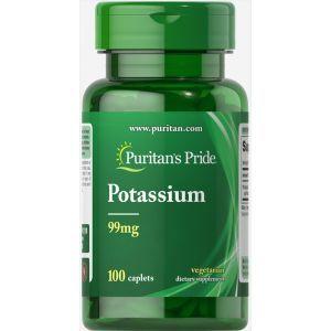 Калий, Potassium, Puritan's Pride, 99 мг, 100 капсул