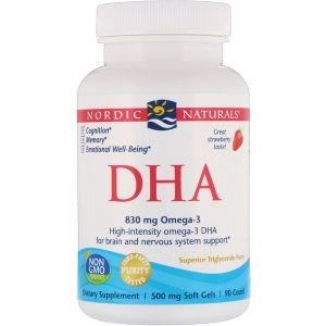 Рыбий жир экстра (клубника), DHA, Nordic Naturals, 500 мг, 90 капсул (Default)
