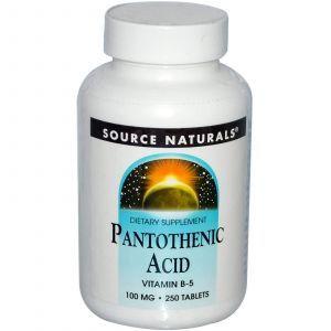 Пантотеновая кислота,Source Naturals, 100 мг,250 табл
