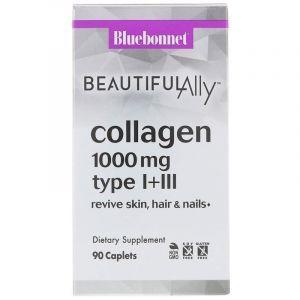 Коллаген тип I+III, Beautiful Ally, Collagen Type I+III, Bluebonnet Nutrition, 1000 мг, 60 капсул