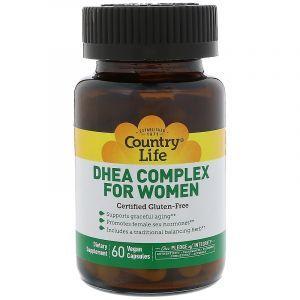 Дегидроэпиандростерон, ДГЭА для женщин, DHEA, Country Life, 60 капсул (Default)
