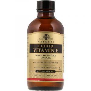 Витамин Е из подсолнечника, Liquid Vitamin E, Solgar, (118 мл) (Default)
