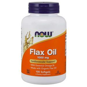 Льняное масло, Flax Oil, Now Foods, органик, 1000 мг, 100 гелевых капсул
