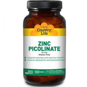Цинк пиколинат, Country Life, 25 мг, 100 таблеток