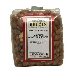 Соленый обжаренный миндаль, Almonds Roasted & Salted, Bergin Fruit and Nut Company, 454 г