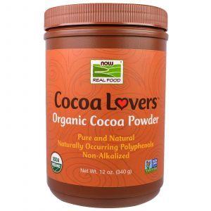 Порошок какао, Cocoa Lovers, Organic Cocoa Powder, Now Foods, 340 г