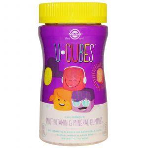 Жевательные мультивитамины и минералы для детей, U-Cubes, Solgar, 60 конфет
