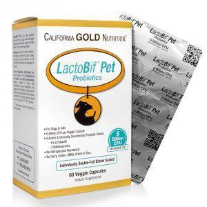 Пробиотики для котов и собак, LactoBif Pet, 5 миллиардов КОЕ, California Gold Nutrition, 60 капсул