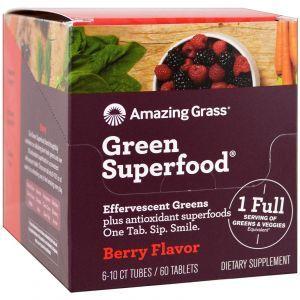 Суперфуд, со вкусом ягод, Green Superfood, Effervescent Greens, Amazing Grass, 6 тюбиков по 10 таблеток в каждом