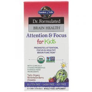Улучшение памяти и работы мозга у детей, Attention & Focus, Garden of Life, Dr. Formulated Brain Health, органик, вкус арбуза, 60 жевательных конфет