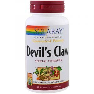 Коготь дьявола, формула, Devil's Clawc, Solaray, 90 вегетарианских капсул