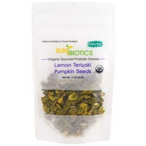 Семена тыквы, Pumpkin Seeds, Lemon Teriyaki, Sunbiotics, вкус лимона тэрияки, органик, 42,5 г