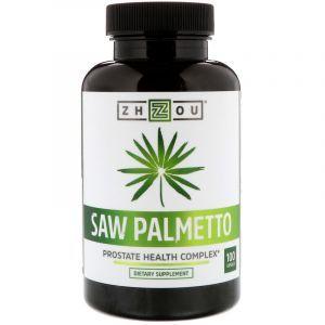 Со пальметто, здоровье простаты, Saw Palmetto, Zhou Nutrition, 100 капсул
