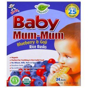 Рисовое печенье для детей с голубикой и ягодами годжи, Baby Rice Rusks, Hot Kid, органическое, 24 шт., 50 г (Default)