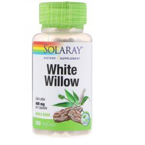 Белая ива, White Willow Bark, Solaray, 400 мг, 100 капсул (Default)