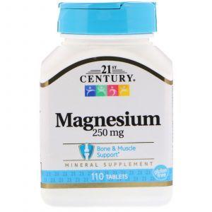 Магний оксид, Magnesium, 21st Century, 250 мг, 110 таб. (Default)