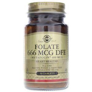 Фолиевая кислота, Folate (As Metafolin), Solgar, метафолин, 400 мкг, 50 таблеток (Default)