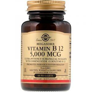 Витамин В12, Vitamin B12, Solgar, сублингвальный, 5000 мкг, 60 таблеток (Default)