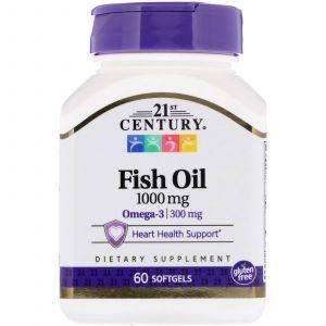 Рыбий жир, Fish Oil, 21st Century, 1000 мг, 60 капсул (Default)