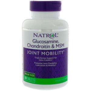 Глюкозамин, хондроитин+МСМ, Glucosamine Chondroitin MSM, Natrol, 150 таблеток