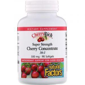Экстракт дикой вишни (Cherry Concentrate), Natural Factors, 500 мг, 90 капсул (Default)