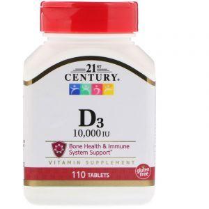 Витамин Д3, Vitamin D3, 21st Century, 10 000 МЕ, 110 таблеток (Default)
