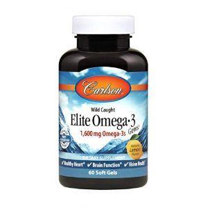 Рыбий жир Омега-3, Elite Omega-3, Carlson Labs, лимон, 1600 мг, 60 гелевых капсул