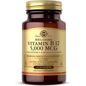 Витамин В12, Vitamin B12 Megasorb, Solgar, 5000 мкг, 30 таблеток