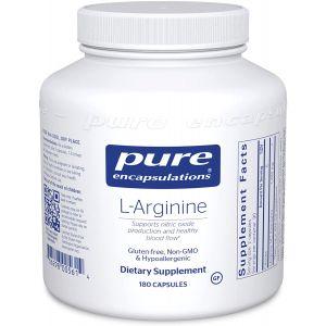 L-аргинин, l-Arginine, Pure Encapsulations, поддержка выработки оксида азота, поддержка иммунитета, памяти, здоровья сердца и здорового кровотока, 180 капсул