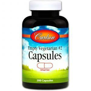 Пустые растительные капсулы №2, Empty Vegetarian #2, Carlson Labs, 200 шт.