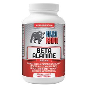 Бета-аланин, Beta-Alanine, Hard Rhino, 800 мг, 250 вегетарианских капсул