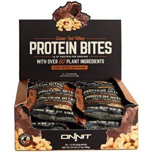 Протеиновые батончики с арахисовым маслом и темным шоколадом, Protein Bites, Onnit, 24 батончиков по 32 г