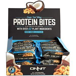 Протеиновые батончики с кокосом, кешью и темным шоколадом, Protein Bites, Onnit, 24 батончиков по 32 г