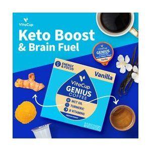 Кофейные капсулы с ванилью, MCT, куркумой, корицей и витаминами B & D3, Genius Vanilla Coffee Pods, VitaCup, 32 шт