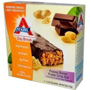 Хрустящие батончики из фаджа с арахисовым маслом, Crisp Bar, Atkins, Day Break, 5 бат.