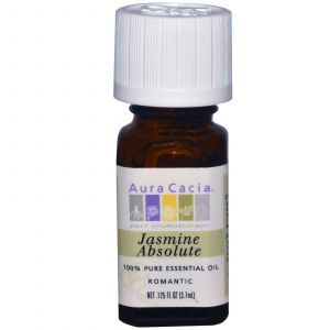 Чистое эфирное масло, жасмин абсолют, Aura Cacia, 3,7 мл