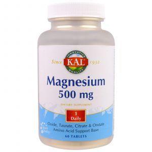 Магний, 500 мг, Magnesium, KAL, 60 таб.