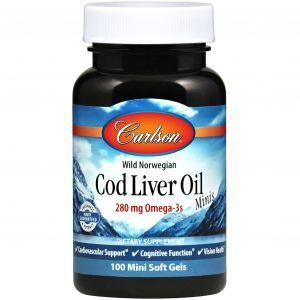 Норвежский рыбий жир, Cod Liver Oil, Carlson Labs, 100 мини гелевых капсул