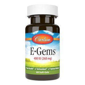 Витамин Е, E-Gems Elite, Carlson Labs, 400 МЕ, 60 гелевых капсул
