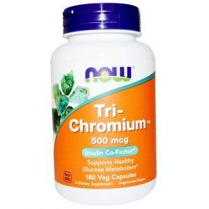 Хром, Tri-Chromium, Now Foods, 500 мкг, 180 капсу