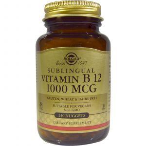 Витамин В12, Vitamin B12, Solgar, 1000 мкг, 250 табл