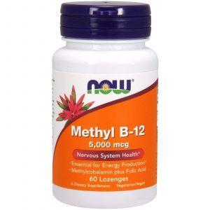 Витамин В12, Methyl B-12, Now Foods, 5000 мкг, 60 леденц