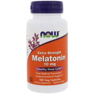 Мелатонин, Melatonin, Now Foods, 10 мг, 100 вегетарианских капсу