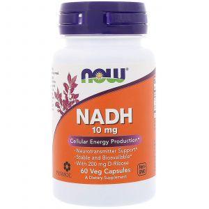 Никотинамидадениндинуклеотид, NADH, Now Foods, 10 мг, 60 кап