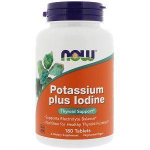 Йодид калия, Potassium Plus Iodine, Now Foods, 225 мкг, 180 табле