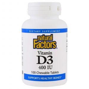 Витамин D3 для детей (клубника), Vitamin D3 for Kids, Natural Factors, 100 таблет