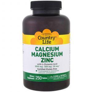 Кальций магний цинк, Calcium Magnesium Zinc, Country Life, 250 таблето
