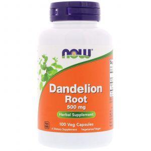 Корень одуванчика, Dandelion Root, Now Foods, 500 мг, 100 капс
