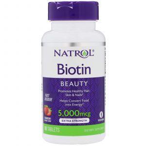 Биотин, Biotin, вкус клубники, Natrol, 5000 мкг, 90 таблет